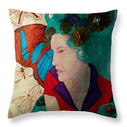 Throw Pillow featuring the mixed media Fairy by Rafael Colon