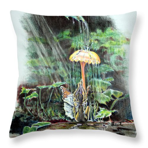 Fairy Throw Pillow featuring the drawing Fairy Shower by Susan Moore