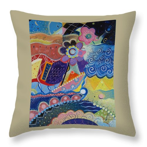 Imaginary Throw Pillow featuring the painting Fairy Tales by Helena Tiainen