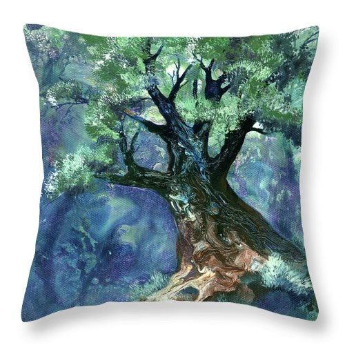Tree Throw Pillow featuring the painting Fairy Tree by Sherry Shipley