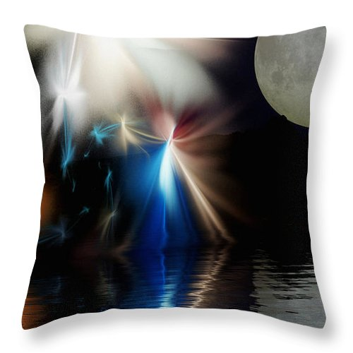 Digital Painting Throw Pillow featuring the digital art Fairy's Moonlight Ball by David Lane