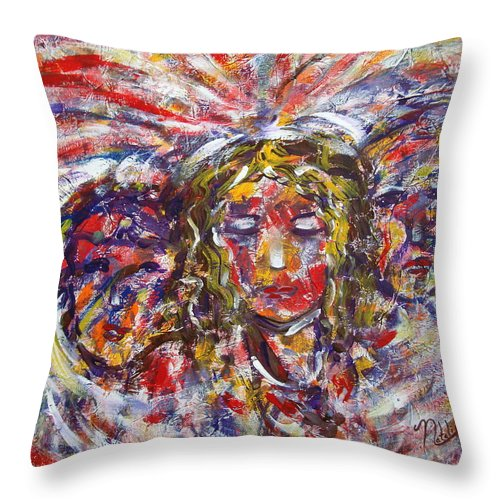 Woman Throw Pillow featuring the painting Faith Hope And Love by Natalie Holland