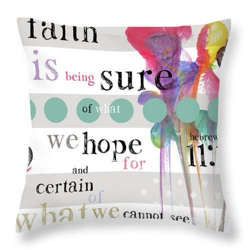 Throw Pillow featuring the digital art Faith in White by Claire Tingen