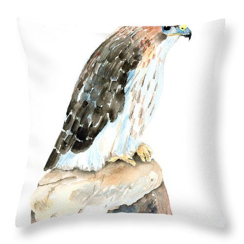 Falcon Throw Pillow featuring the painting Falcon by Arline Wagner