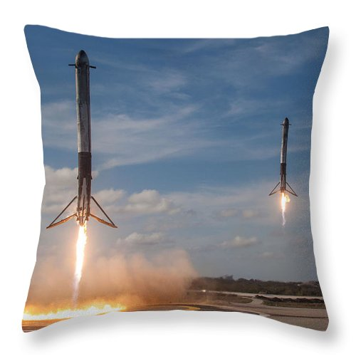 Dont Panic Throw Pillow featuring the mixed media Falcon Heavy Double Sideboosters Landing by Filip Hellman