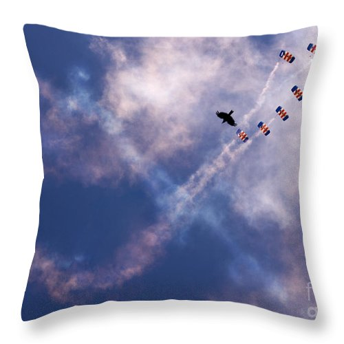 Raf Falcons Throw Pillow featuring the photograph Falcons Vs Crows by Angel Ciesniarska