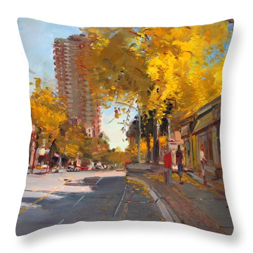 Fall In Canada Throw Pillow featuring the painting Fall 2010 Canada by Ylli Haruni
