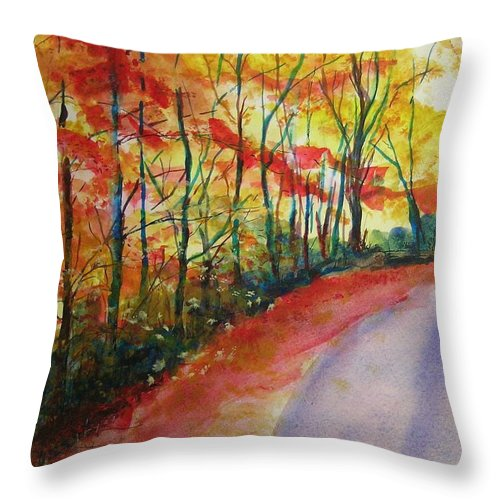 Abstract Landscape Throw Pillow featuring the painting Fall Abstract by Lizzy Forrester