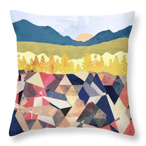 Fall Throw Pillow featuring the digital art Fall Afternoon Light by Spacefrog Designs