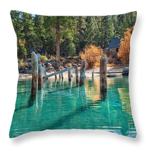 Lake Tahoe Throw Pillow featuring the photograph Fall At Skunk Harbor Lake Tahoe by Dianne Phelps
