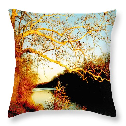 River Throw Pillow featuring the photograph Fall at the Raritan River in New Jersey by Christine Till