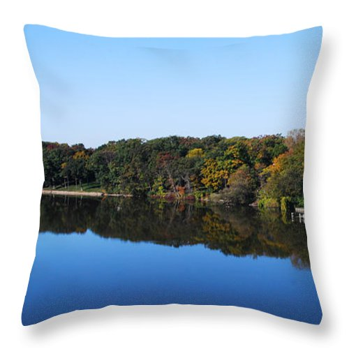 Panoramic Throw Pillow featuring the photograph Fall At The Riverbend Panoramic by Maggy Marsh