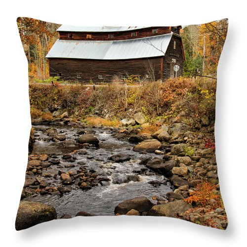 Fall Throw Pillow featuring the photograph Fall Barn by Betty Pauwels