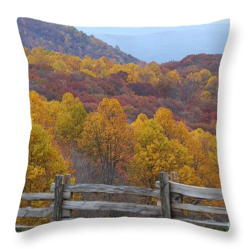 Fence Throw Pillow featuring the photograph Fall Blend by Eric Liller