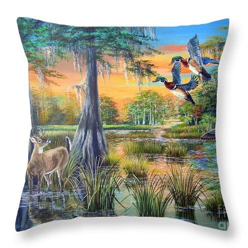 Deer Throw Pillow featuring the painting Fall Bounty- Big Cypress Swamp by Daniel Butler