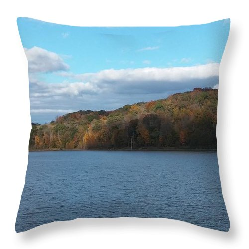 Lake Throw Pillow featuring the photograph Fall By The Lake by Fayedra Oharra