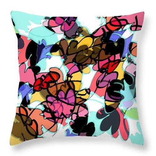 Abstract Throw Pillow featuring the digital art Fall Cartoon by Rachel Christine Nowicki