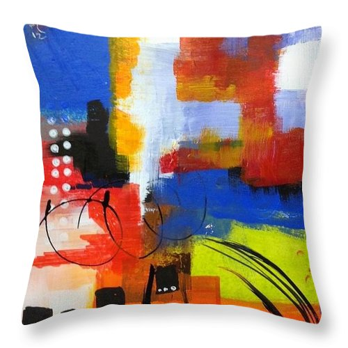 Throw Pillow featuring the painting Day One...30 in 30 Challenge by Suzzanna Frank