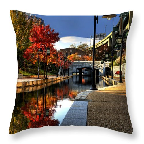 Landscape Throw Pillow featuring the photograph Fall Colors Along The Canal by Tim Wilson