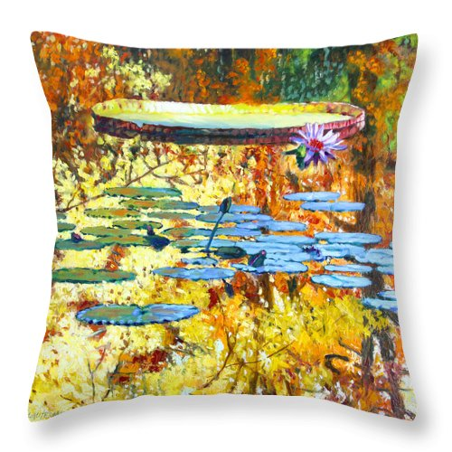 Fall Throw Pillow featuring the painting Fall Colors on the Lily Pond by John Lautermilch