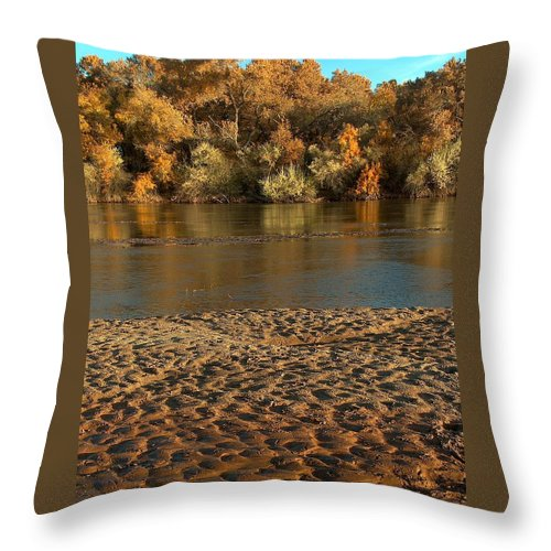 Fall Colors Throw Pillow featuring the photograph Fall Colors On The Rio Grande 1 by Tim McCarthy