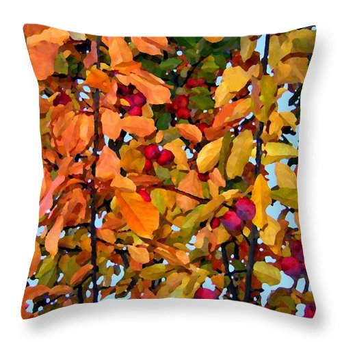 Autumn Throw Pillow featuring the digital art Fall Crab Apples by Will Borden