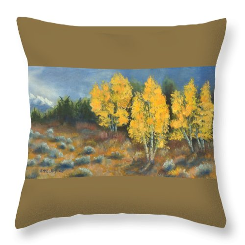 Landscape Throw Pillow featuring the painting Fall Delight by Jerry McElroy