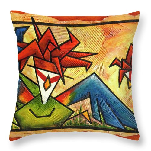 Fall Down Throw Pillow featuring the painting Fall Down by Bobby Jones