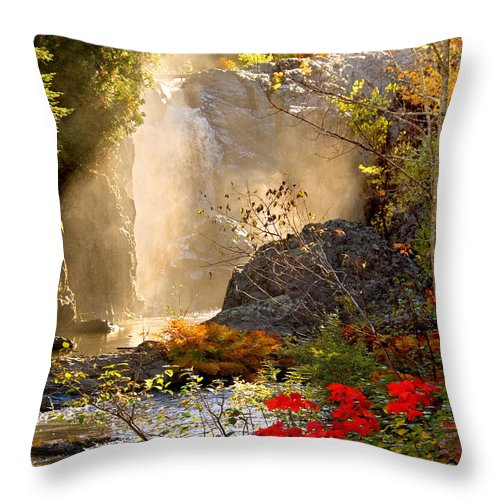 Fall Throw Pillow featuring the photograph Fall Falls Mist Dead River Falls Marquette Mi by Michael Bessler