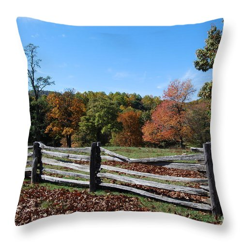 Rural Throw Pillow featuring the photograph Fall fence by Eric Liller