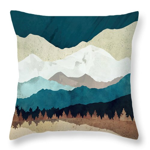 Fall Throw Pillow featuring the digital art Fall Forest Night by Spacefrog Designs