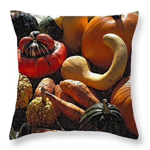 Fall;pumpkins Throw Pillow featuring the photograph Fall Fruit And Vegetables by Thomas Firak