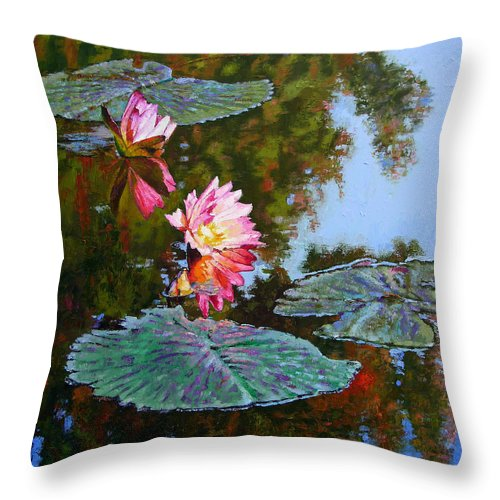Water Lily Throw Pillow featuring the painting Fall Glow by John Lautermilch