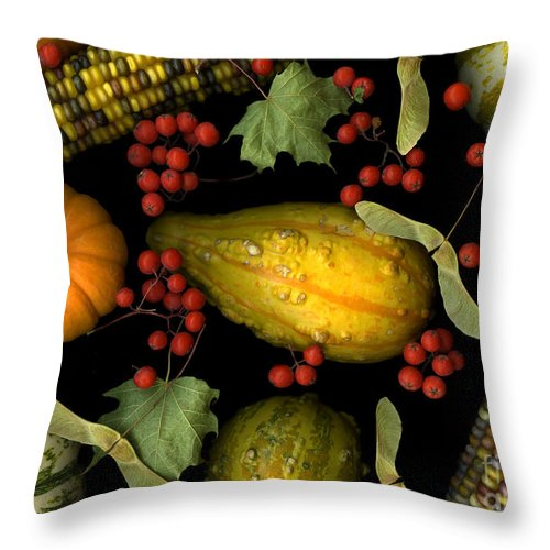 Slanec Throw Pillow featuring the photograph Fall Harvest by Christian Slanec