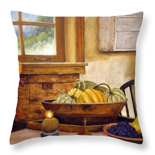 Fall Throw Pillow featuring the painting Fall Harvest by Richard T Pranke