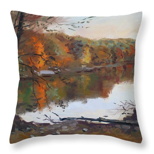 Landscape Throw Pillow featuring the painting Fall In 7 Lakes by Ylli Haruni