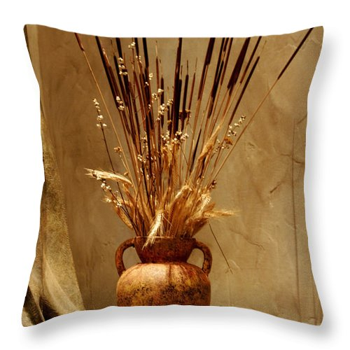 Fall Throw Pillow featuring the photograph Fall In A Vase Still-life by Christine Till