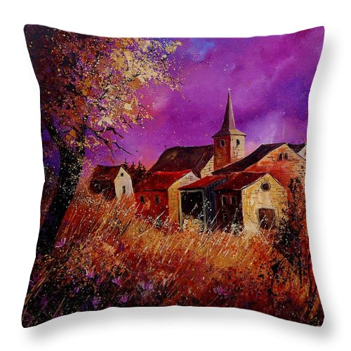 Village Throw Pillow featuring the painting Fall In Ardennes by Pol Ledent