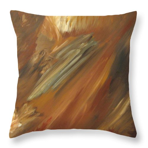 Abstract Throw Pillow featuring the painting Fall in Motion by Debbie Levene