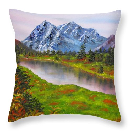 Autumn Throw Pillow featuring the painting Fall in Mountains Landscape oil painting by Natalja Picugina
