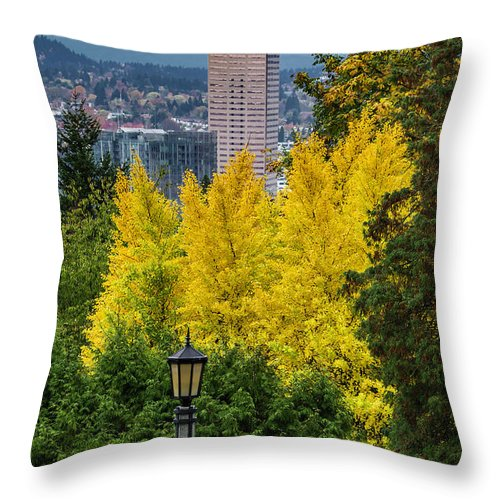 Japanese Gardens Throw Pillow featuring the photograph Fall In Portland Or 2 by George Herbert