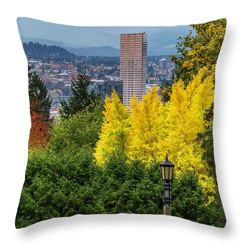 Japanese Gardens Throw Pillow featuring the photograph Fall In Portland Or by George Herbert