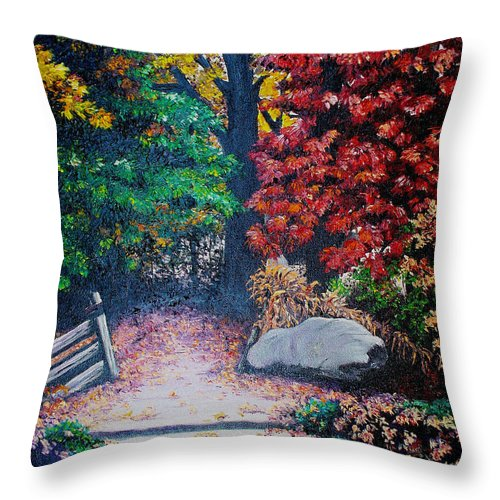 A N Original Painting Of An Autumn Scene In The Gateneau In Quebec Throw Pillow featuring the painting Fall In Quebec Canada by Karin Dawn Kelshall- Best