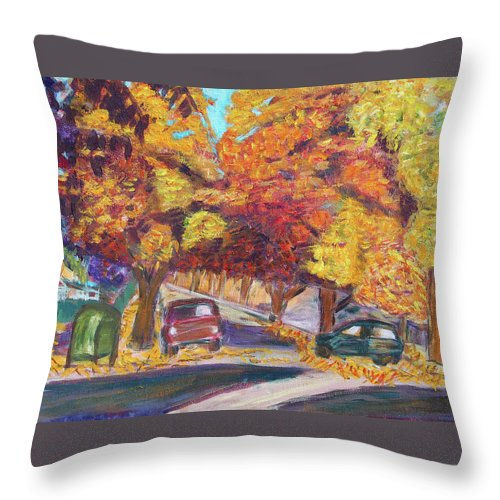 Santa Clara Throw Pillow featuring the painting Fall In Santa Clara by Carolyn Donnell