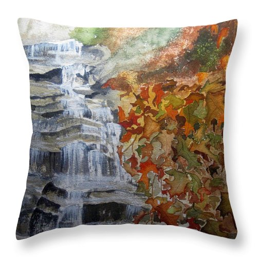 Water Fall Throw Pillow featuring the painting Fall Leaves by Julia RIETZ