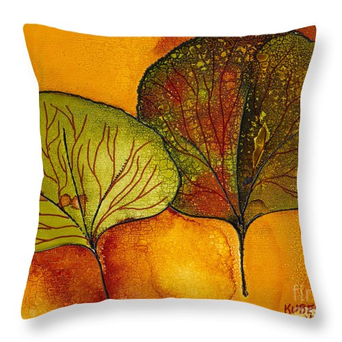 Leaf Throw Pillow featuring the painting Fall Leaves by Susan Kubes