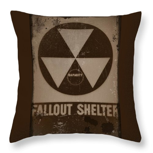 Nuclear Throw Pillow featuring the photograph Fall Out Shelter by Bill Cannon