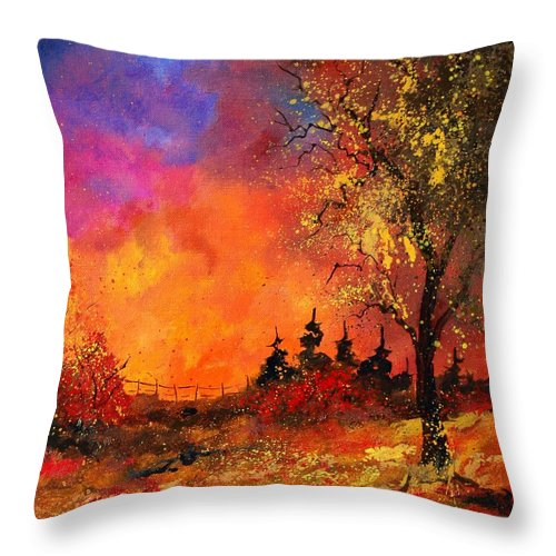 River Throw Pillow featuring the painting Fall by Pol Ledent