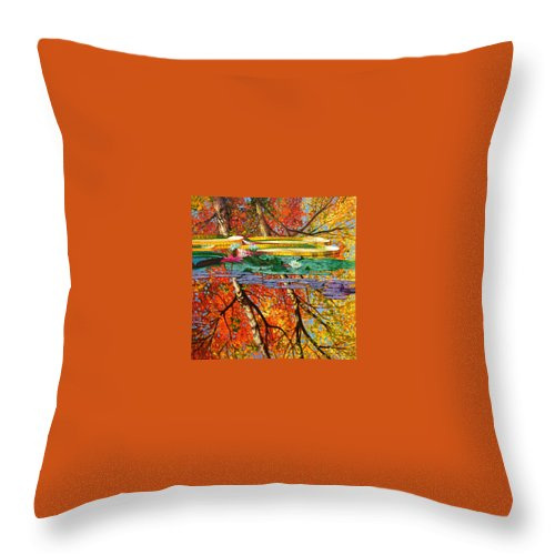 Garden Pond Throw Pillow featuring the painting Fall Reflections 2 by John Lautermilch