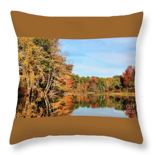 Landscape Throw Pillow featuring the photograph Fall Reflections On Sabattus River by Sandra Huston